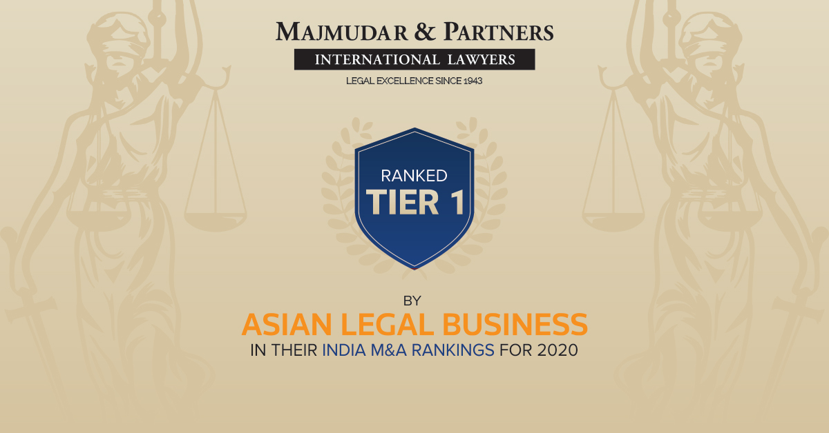 Asian Legal Business ranks Majmudar & Partners as Tier 1 law firm as part of their M&A rankings