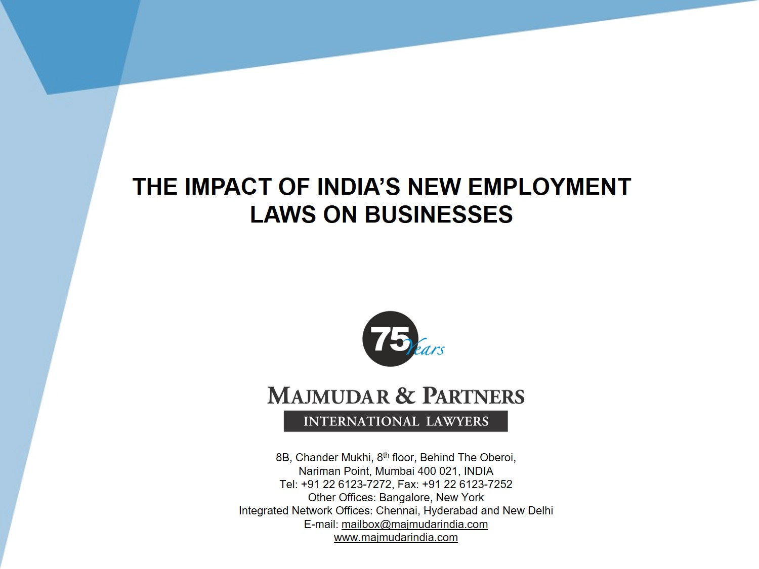 Majmudar & Partners - Impact of New Employment Laws on Businesses