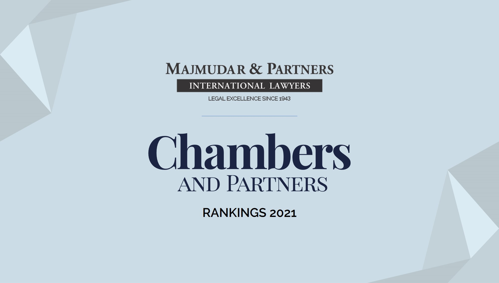 Majmudar & Partners recognized among Chambers & Partners 2021 law firm rankins