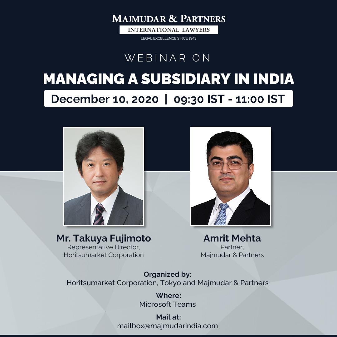 Amrit Mehta, Partner at Majmudar & Partners and Takuya Fujimoto, Representative