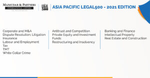 Majmudar & Partners recognized among top International Law Firms as part of Legal500 2021 Asia-Pacific rankings across several practice areas.