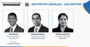 Majmudar & Partners - The Legal 500 2021 Rankings - Asia Pacific